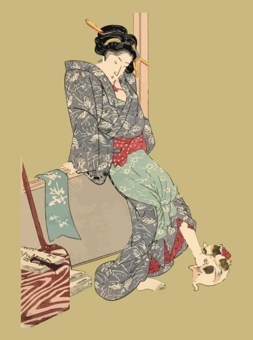 Kimono lady with cat Japanese Ukiyo-e by Utagawa Kuniyoshi