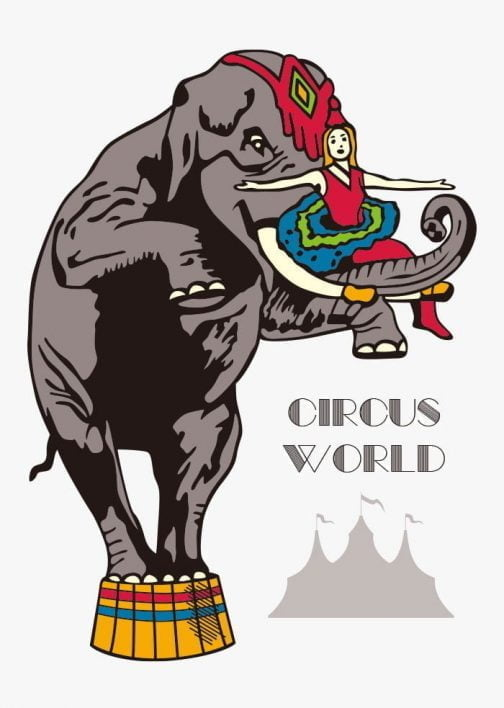 Circus World / Woman with Elephant Logo