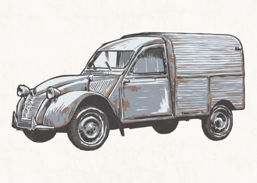 Retro and classic car 02 / Drawing