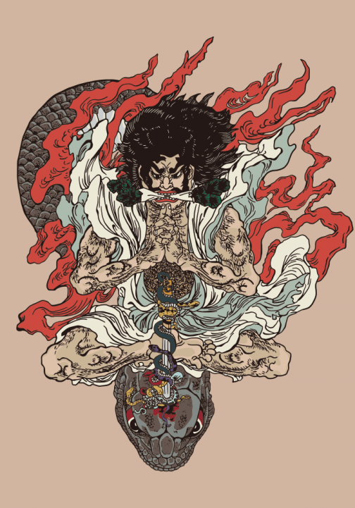 Kidomaru / Japanese Ukiyo-e Drawing by Utagawa Kuniyoshi