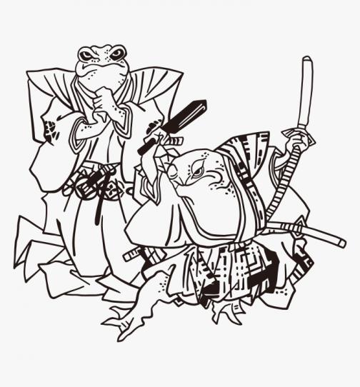 Samurai Frog / Japanese Ukiyo-e Drawing by Utagawa Kuniyoshi