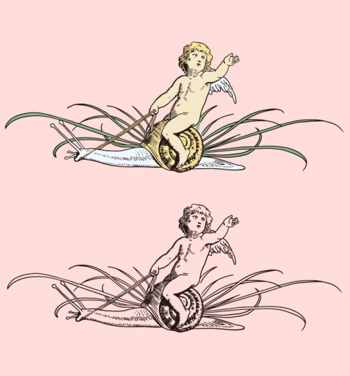 Angel riding snail - Drawing
