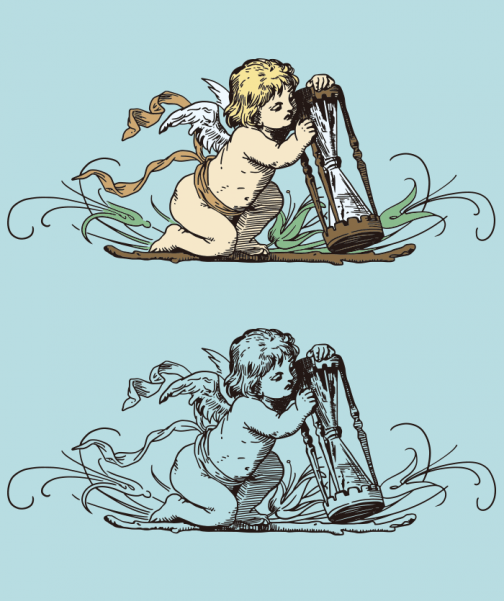 Hourglass and Angel - Drawing