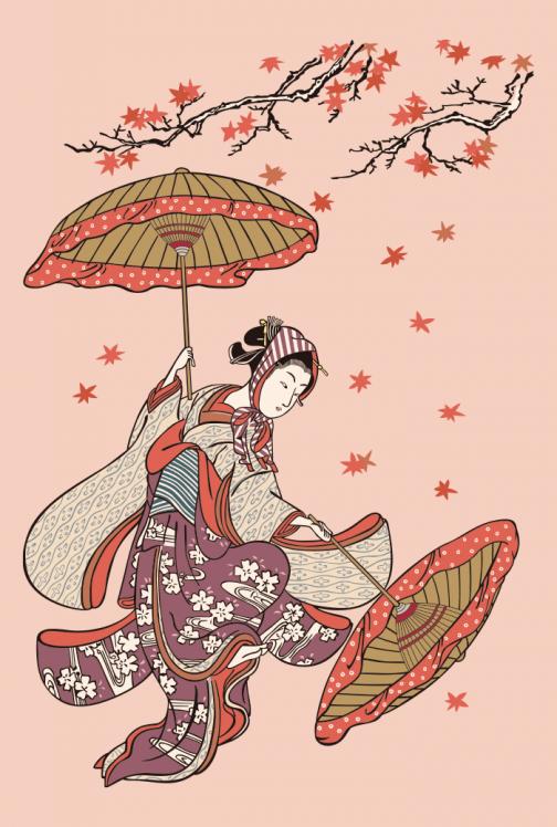 Autumn Leaves and Women  Japanese Ukiyo-e by Suzuki Harunobu