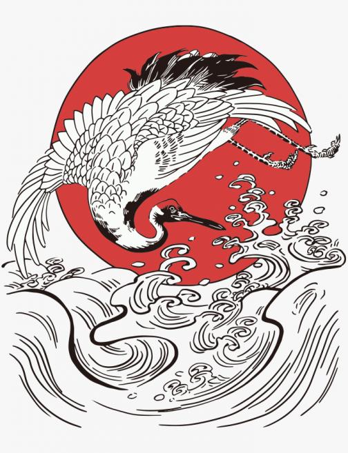 Grulla japonesa - Dibujo Ukiyo-e