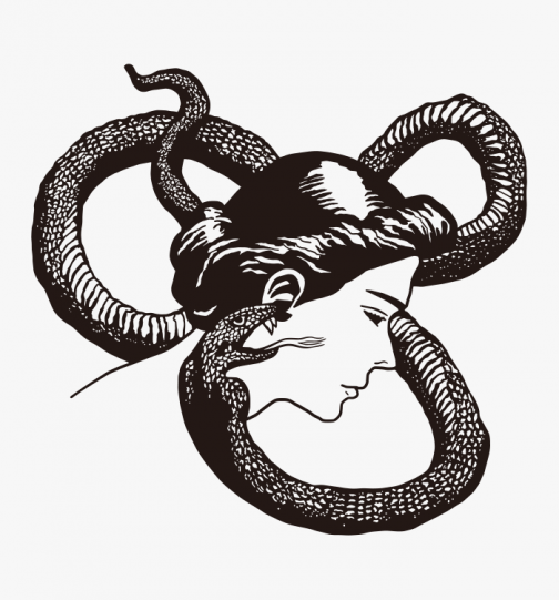 Whispering of a snake - deceptive woman drawing