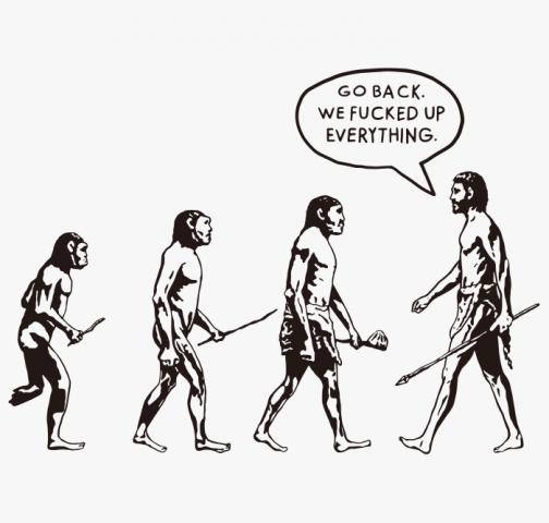 Human Evolution - Go back - Drawing