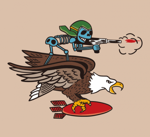 Retro style - skull soldier with eagle - Drawing