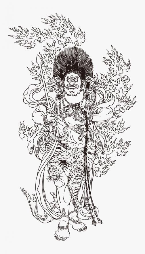 Fudo Myoo Japanese Ukiyo-e - highest being in Buddhism - Drawing