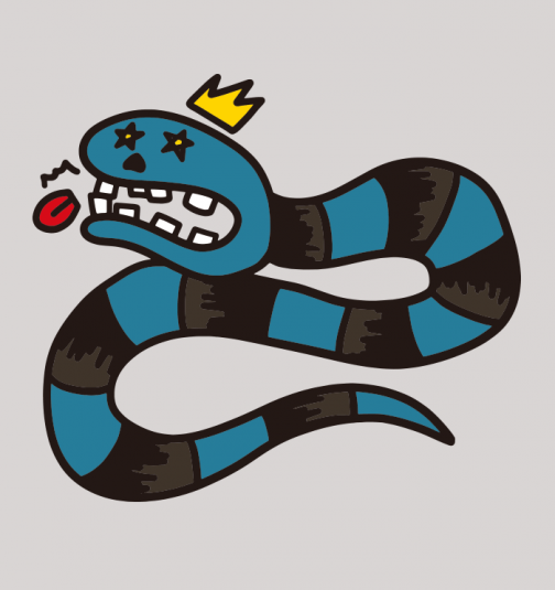 Snake with its tongue cut off - drawing