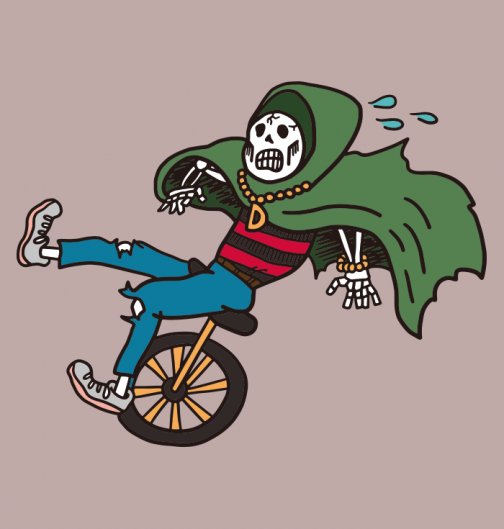 Reaper riding a unicycle - Drawing