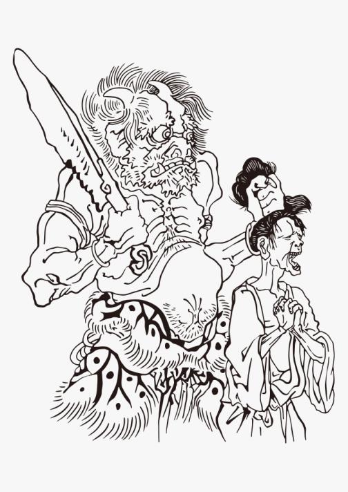 Japanese Oni from Hell -  Ukiyoe drawing by Kawanabe Kyosai