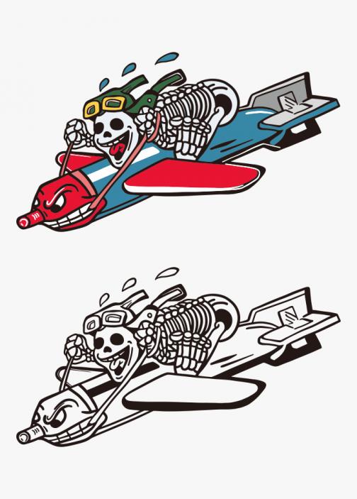 Skull character riding rocket - illustration