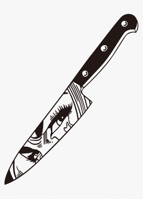 Grudge reflects on a knife - illustration