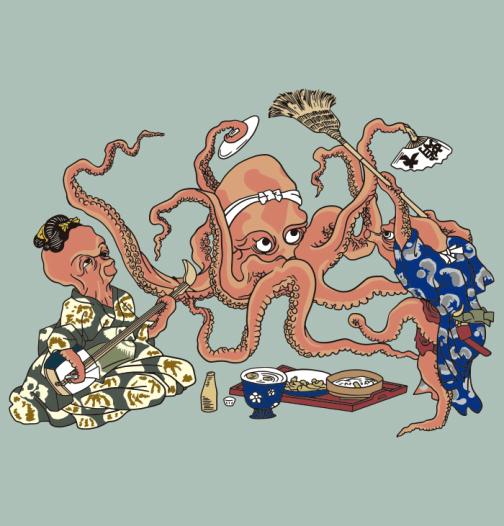 Three octopuses enjoying a feast - Japanese Ukiyo-e by Kuniyoshi
