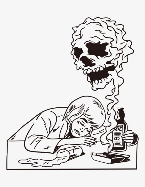 Drunken woman - nightmare - drawing