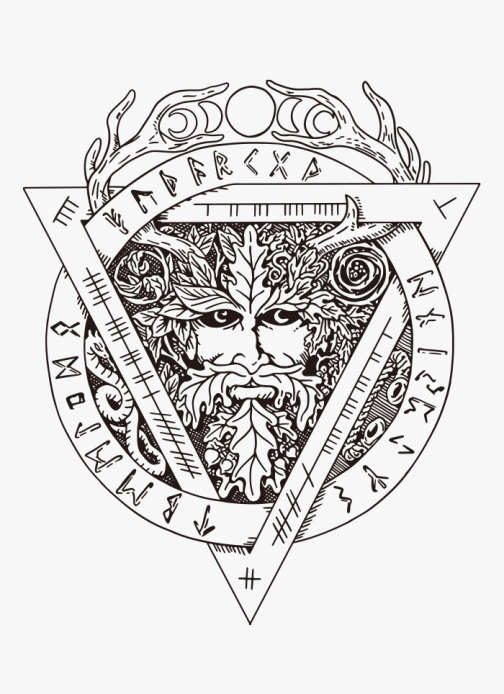 Illustration of Green man - drawing symbol