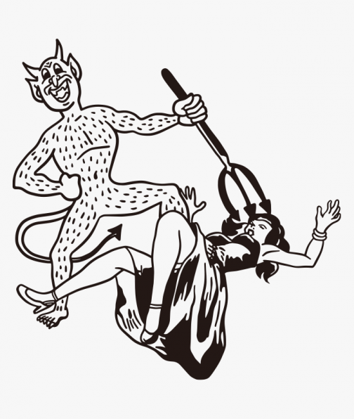 A woman trapped by the devil - drawing