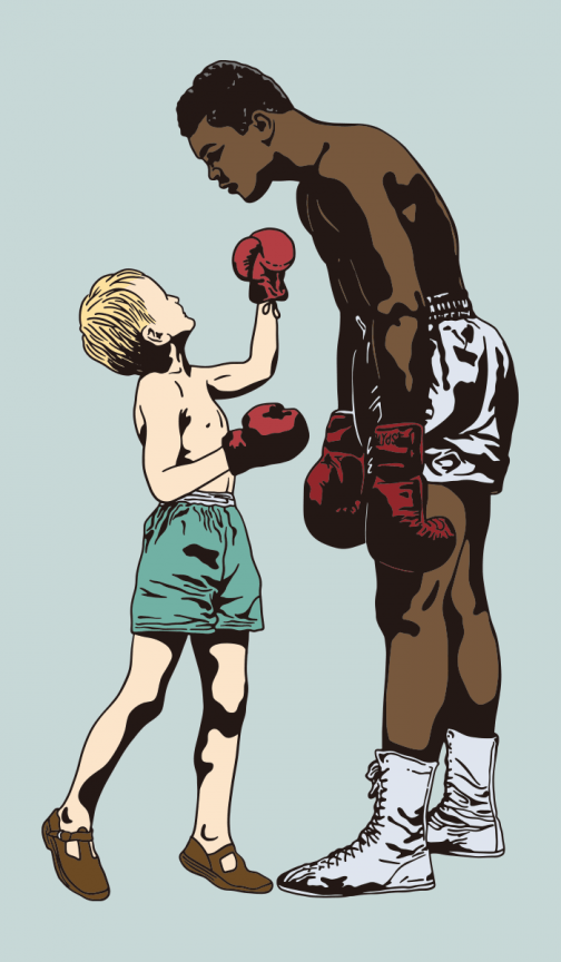 Famous boxers and kid - Drawing