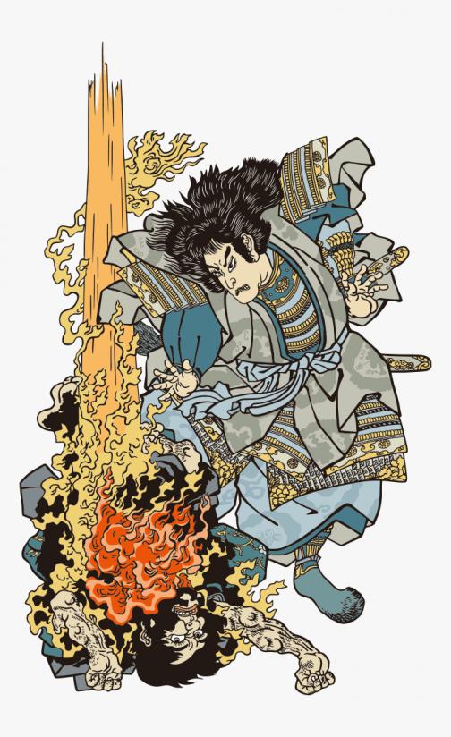 Spirit of Yoshihira - God of Thunder - Japanese Ukiyo-e by Utagawa Kuniyoshi