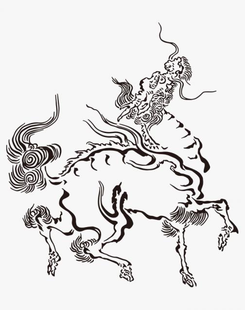 Kirin (Legend of animal) Japanese Ukiyo-e by Kano Tsunenobu