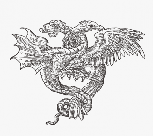 Retro cultish drawing - The Eagle and the Dragon