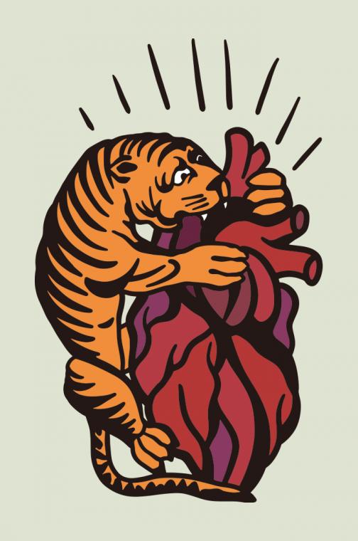 Tiger biting at the heart - Drawing